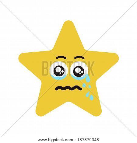 Emotional star cry. Vector illustration smile icon. Face emoji yellow icon. Smile cute funny emotion face isolated background.