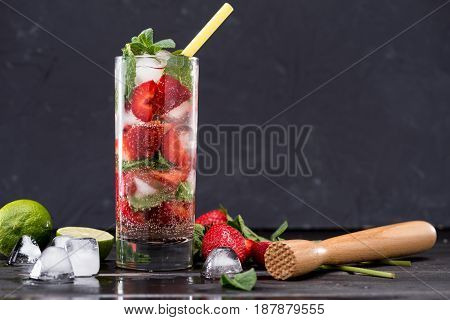 Strawberry Lemonade In Glass With Ice Cubes, Cocktail Party Background Concept
