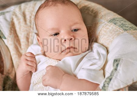 Baby boy close up. Look of a child.