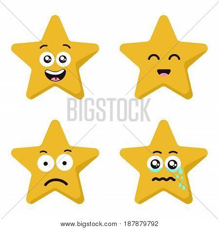 Funny cartoon star character emotions set. Vector set isolated on white background