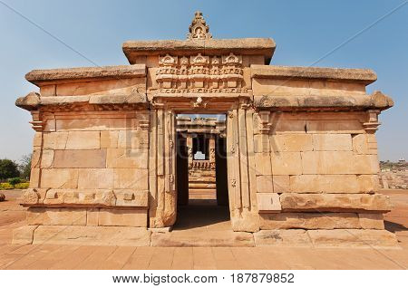 Arch inside the 7th century brick temple medieval era Hindu temple in Aihole, India. Ancient Indian artwork