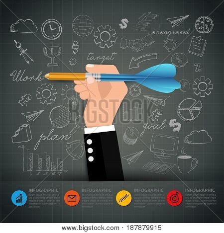 Hand business holding pencil dart writing on blackboard.Business infographic options.can used for banner diagram workflow and web design layout presentation templates background.Vector illustration.