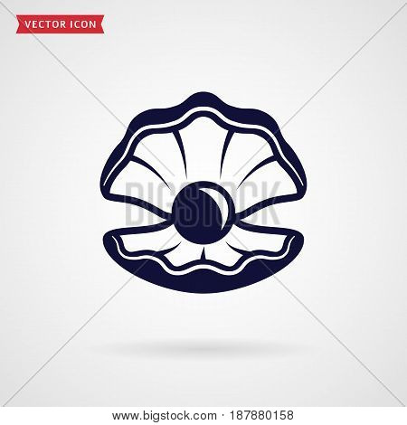Pearl in the shell. Icon isolated on white background. Sea theme or jewelry concept. Vector symbol.