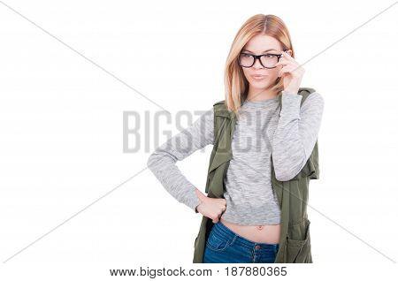 Sexy Fashion Model Girl Wearing Glasses