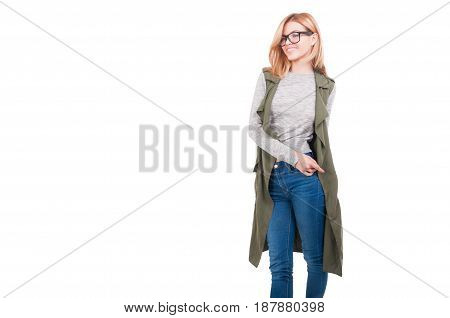 Beautiful Blonde Girl In Stylish Clothes