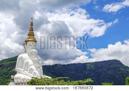 Wat Phra That Pha Son Kaew temple, five white buddha most famous tourist area at Phetchabun Thailand