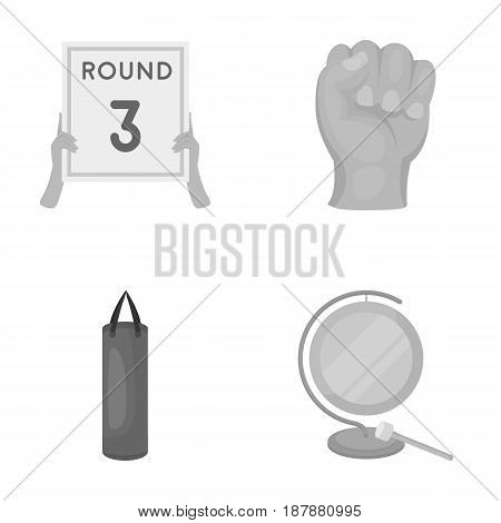 Boxing, sport, round, hand .Boxing set collection icons in monochrome style vector symbol stock illustration .