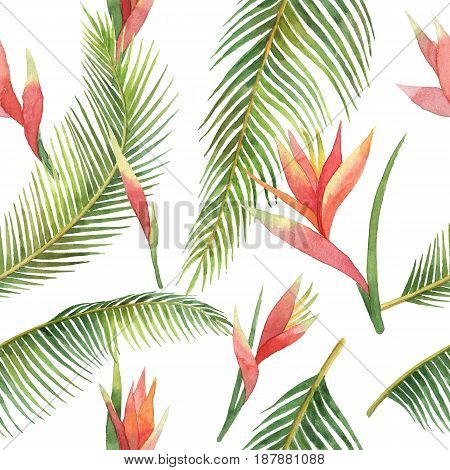Watercolor seamless pattern of exotic flowers and jungle leaves isolated on white background. Hand painted illustration for design kitchen, bio food, menu, healthy eating, textiles, market.