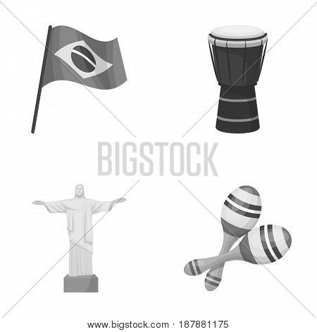 Brazil, country, flag, drum . Brazil country set collection icons in monochrome style vector symbol stock illustration .
