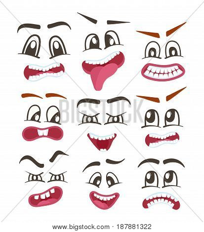 Comic faces vector isolated icons set for web. Happiness, anger, sad, joy, fear, surprise smiley, eyes and mouth. Emoji characters, cartoon cute emoticon collection, emoji characters, smiley faces.