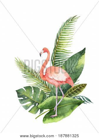 Watercolor bouquet of tropical leaves and the pink Flamingo isolated on white background. Illustration for design wedding invitations, greeting cards, decor.