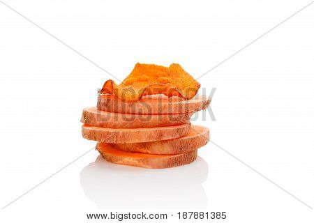 Fried and raw red batata chips isolated on white background