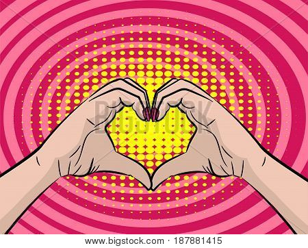 White young woman hands show heart sign. Colored halftone retro dot background for comic text. Positive girl gesture cartoon. Saint Valentine love poster banner