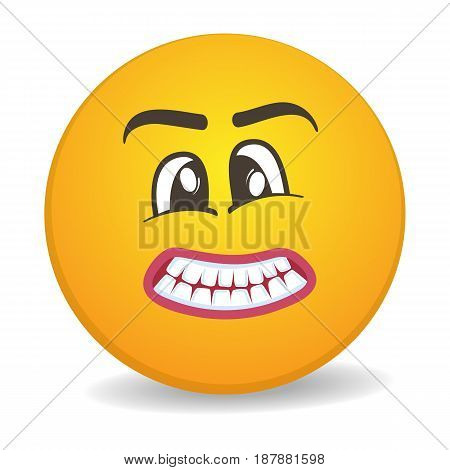 Harmful 3d round yellow smiley face vector icon. Funny facial expression emoji, cute comic emoticon isolated vector illustration.