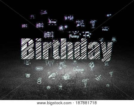 Entertainment, concept: Glowing text Birthday,  Hand Drawn Holiday Icons in grunge dark room with Dirty Floor, black background