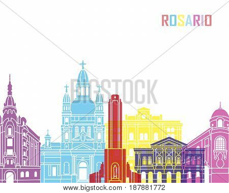 Rosario skyline pop in editable vector file