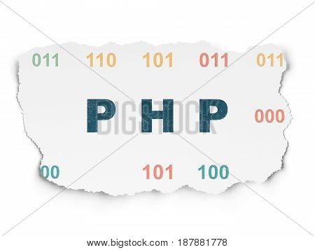 Database concept: Painted blue text Php on Torn Paper background with  Binary Code