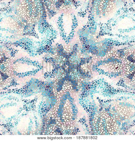 Seamless background pattern. Decorative geometric mosaic pattern on blur background. Gamma of pastel colors.
