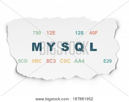 Programming concept: Painted blue text MySQL on Torn Paper background with  Hexadecimal Code