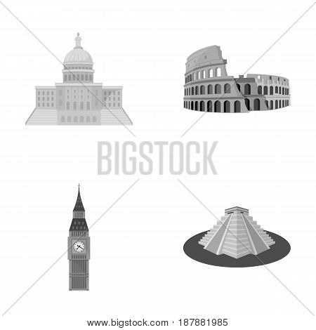 Building, interesting, place, coliseum .Countries country set collection icons in monochrome style vector symbol stock illustration .