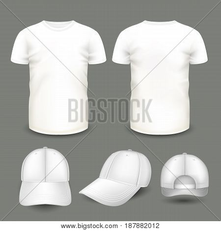 Set of men's white t-shirt and cap in front and back views. Volumetric vector template. Realistic shirts mockup used for advertising labels, logo, emblem design or textile goods, for websites.