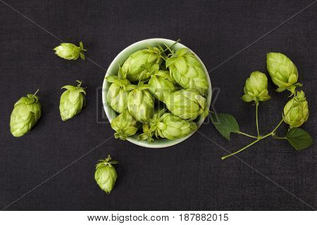 Hop fruit in bowl on black concrete background from above.