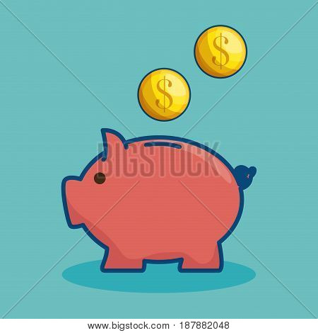 Piggy bank and coins over teal background. Vector illustration.