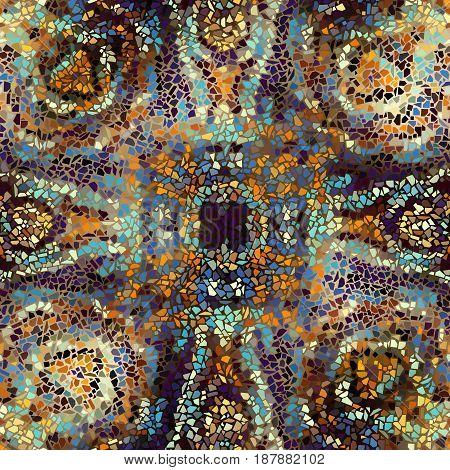 Seamless background pattern. Decorative geometric mosaic pattern on blur background.