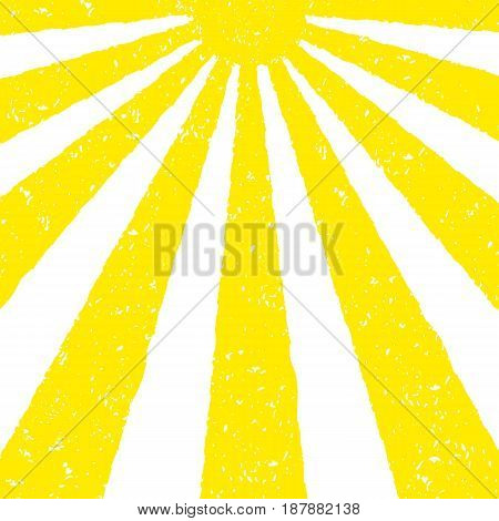 Yellow Sun background. Hand painted with oil pastel crayons. Bright fun card, invitation template. Yellow and orange sun and red text. Abstract graphic design on white background. Vector illustration