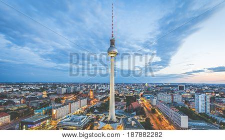 Berlin Skyline Panorama With Tv Tower At Alexanderplatz At Night, Germany