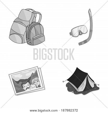 Travel, vacation, backpack, luggage .Family holiday set collection icons in monochrome style vector symbol stock illustration .