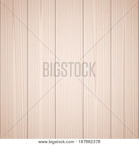 Light brown wood texture background. Wooden surface, grained table, floor. Graphic design element for scrapbooking, presentation, web page background. Realistic vector illustration.