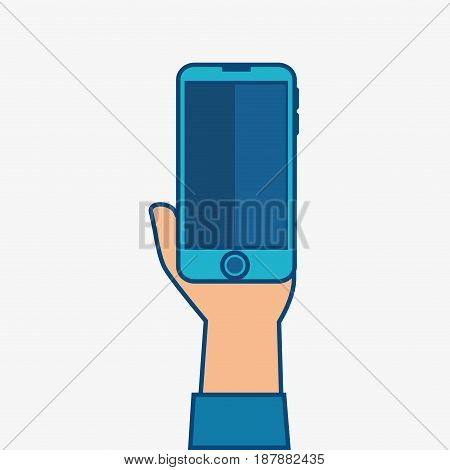 A hand holding a blue smartphone over white background. Vector illustration.