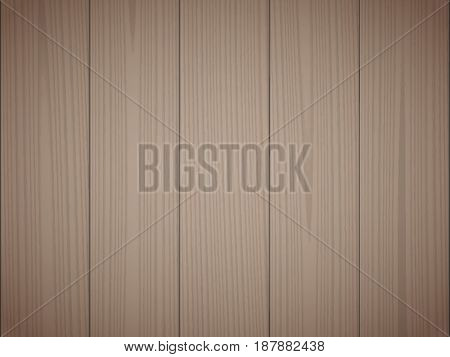 Dark brown wood texture background. Wooden surface, grained table, floor. Graphic design element for scrapbooking, presentation, web page background. Realistic vector illustration.