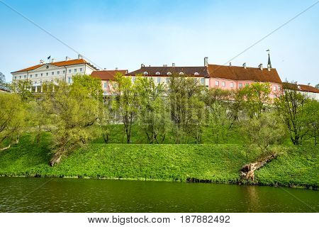 Pond and park close to wall of old town. Tallinn Estonia Baltic States Europe