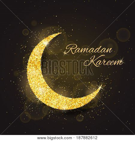 Vector Ramadan Kareem background with sparkling glitter golden textured moon on brown glow background for muslim holy month. Seasonal holidays greeting card template