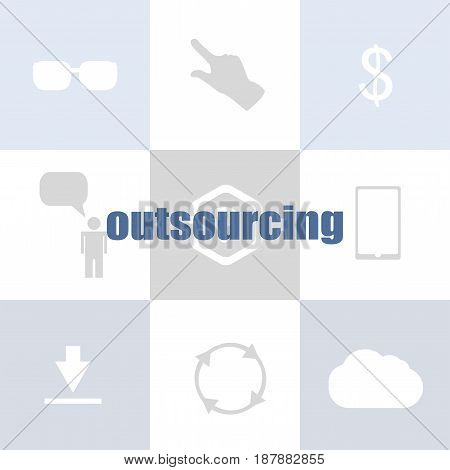 Text Outsourcing. Business Concept . Infographic Of Technology Or Education Process