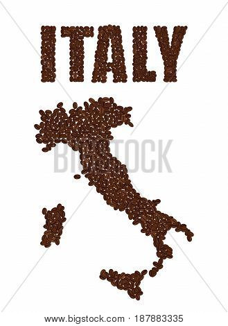 Word Italy And Map Of Italy Created From Coffee Beans Isolated O