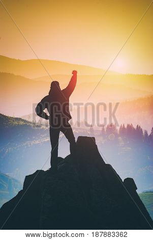 Hiker Who Conquered The Top Of Mountain. Instagram Stylization