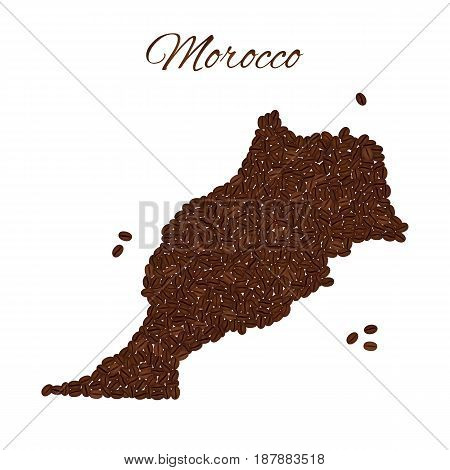 Map Of Morocco Created From Coffee Beans Isolated On A White Bac