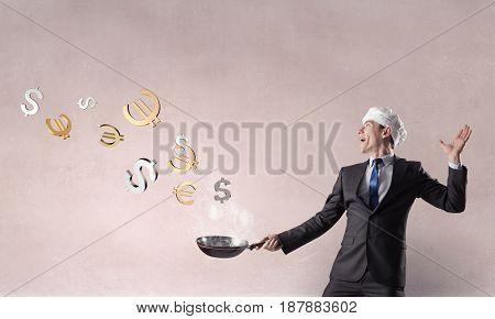 His recipe of money earning. Mixed media