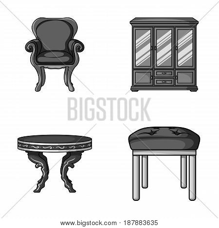 Furniture, interior, design, chair .Furniture and home interiorset collection icons in monochrome style vector symbol stock illustration .
