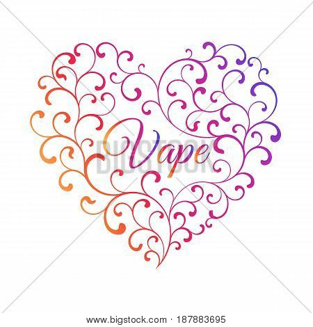 Multicolored heart of smoke curls. In the center of the inscription is Vape isolated on a white background.