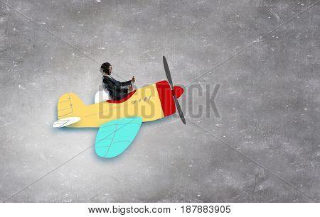 Aviator woman. Mixed media