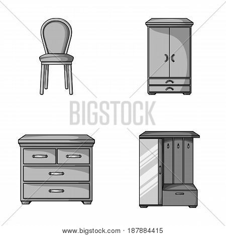 Armchair, cabinet, bedside, table .Furniture and home interiorset collection icons in monochrome style vector symbol stock illustration .