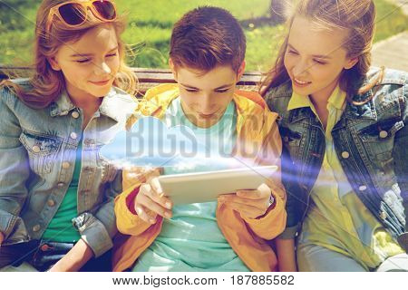 cloud computing, technology and people concept - group of happy teenage students or friends with tablet pc computers outdoors