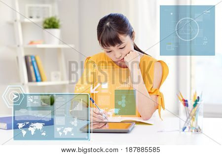 people, education, high school and technology concept - bored asian young woman student with tablet pc computer, book and notepad writing at home