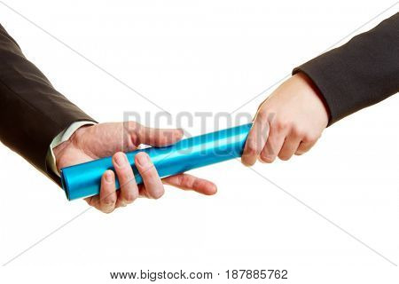 Hands with baton as a competition concept between two business people