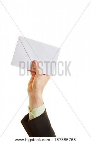 Hand holding an envelope in the air