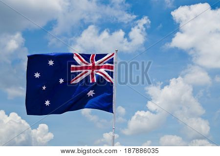 Austrian flag.have blue sky background.Austrian flag.have blue sky background.